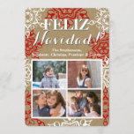 "Snowflakes Christmas Craft 4 Photo Feliz Navidad Holiday Card<br><div class=""desc"">Brown craft paper background print pattern with red and white snowflake shapes around the border of this fun crafty card. Add your custom text. The look of brown paper bag sack type recycled-looking textured print is modern and fun!  Sample Image Photography © Storytree Studios,  Stanford,  CA</div>"