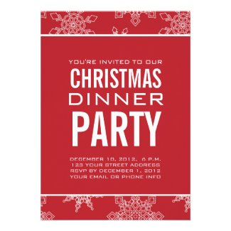 SNOWFLAKES CHRISTMAS DINNER PARTY INVITATION