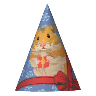 Snowflakes Christmas Hamster Party Hat