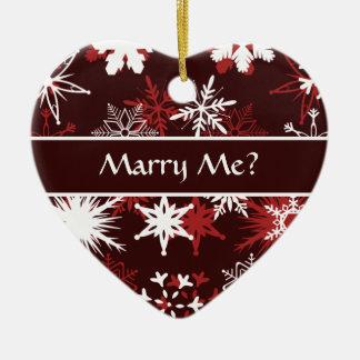 Snowflakes Christmas marriage proposal Ceramic Ornament