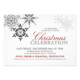 Snowflakes Christmas Party Personalized Announcements