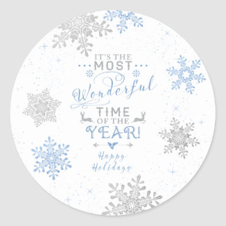 Snowflakes Christmas Xmas Blue Grey White Classic Round Sticker
