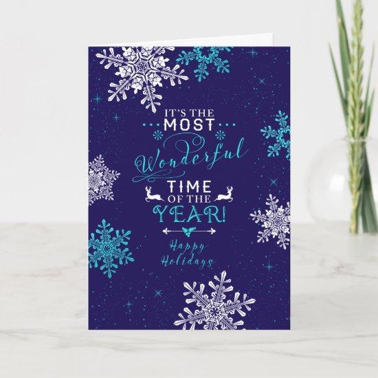 Snowflakes Christmas Xmas Navy Blue Turquoise Holiday Card