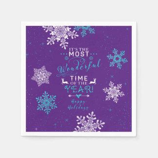 Snowflakes Christmas Xmas Purple Turquoise Napkin