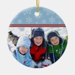 Snowflakes Custom Christmas Ornament (blue)