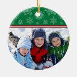 Snowflakes Custom Christmas Ornament (green)