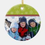 Snowflakes Custom Christmas Ornament (lime)