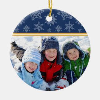 Snowflakes Custom Christmas Ornament (navy)