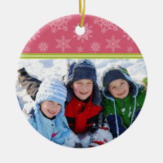 Snowflakes Custom Christmas Ornament (pink)