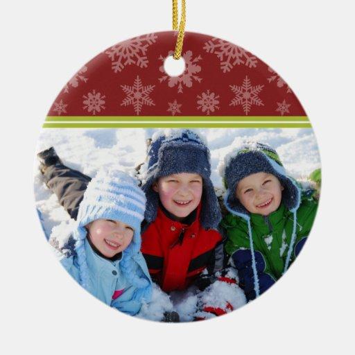 Snowflakes Custom Christmas Ornament (red)