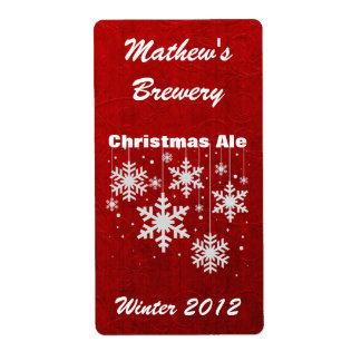 Snowflakes Custom Holiday Beer Labels