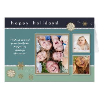 Snowflakes Custom Holiday Card (blue)