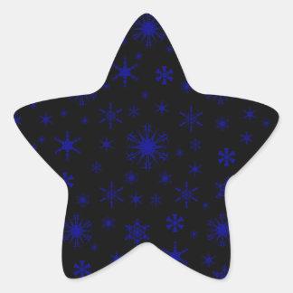 Snowflakes – Dark Blue on Black Star Sticker