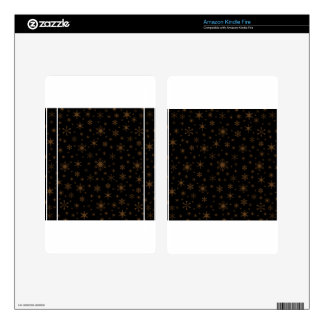 Snowflakes – Dark Brown on Black Skins For Kindle Fire