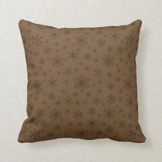 Snowflakes - Dark Brown on Brown Pillows