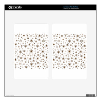 Snowflakes – Dark Brown on White Kindle Fire Decal