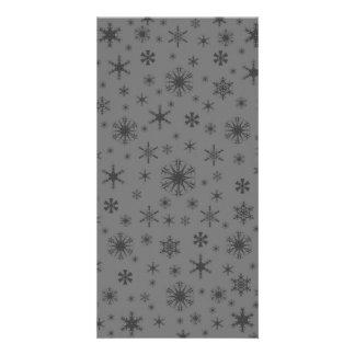 Snowflakes - Dark Gray on Gray Photo Card