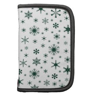 Snowflakes – Dark Green on White Organizer