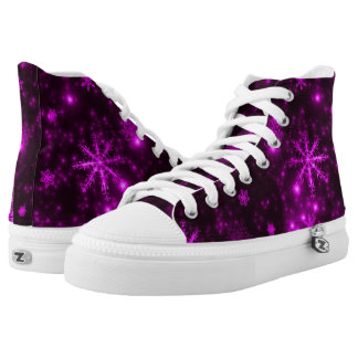 Snowflakes Deep Purple Background High Tops Printed Shoes