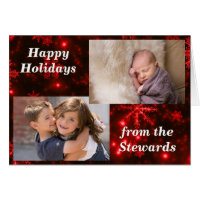 Snowflakes Deep Red Holidays Photo Greeting Card