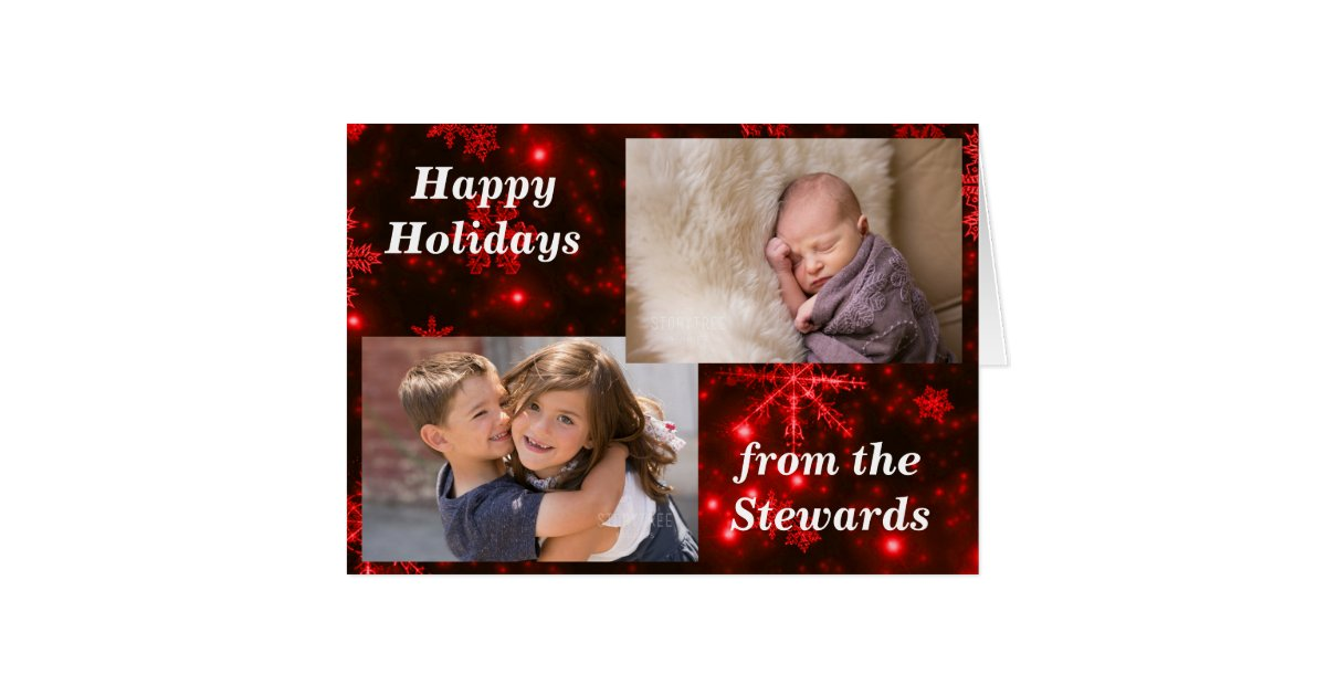 Snowflakes deep red holidays photo greeting card zazzle for The apartment design your destiny episode 1