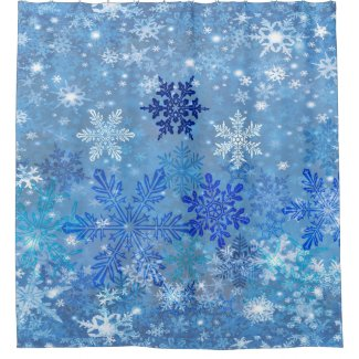Snowflakes Design Shower Curtain
