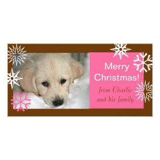 Snowflakes Dog Christmas Photo Cards Brown Pink