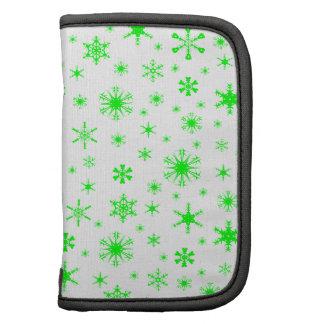 Snowflakes – Electric Green on White Folio Planner