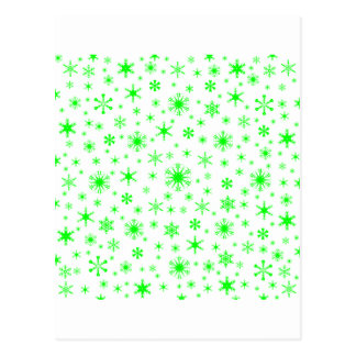 Snowflakes – Electric Green on White Post Card