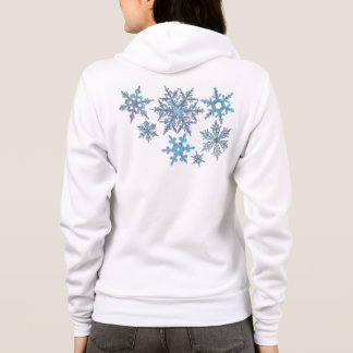 Snowflakes, embroidered look, digital painting hoodie
