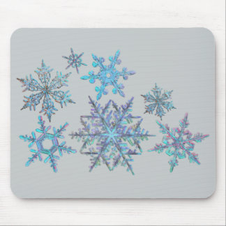 Snowflakes, embroidered look mouse pad