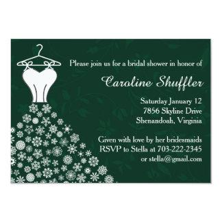 Snowflakes Emerald Wedding Dress Bridal Shower 4.5x6.25 Paper Invitation Card