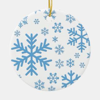 Snowflakes Falling, Flurries Ceramic Ornament