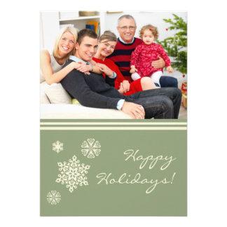 Snowflakes Family Holiday Flat Card Green Custom Invitation