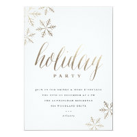 Snowflakes faux foil holiday party invitation