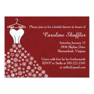 Snowflakes Festive Red Wedding Dress Bridal Shower 4.5x6.25 Paper Invitation Card