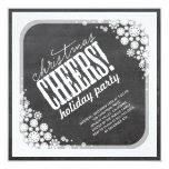 Snowflakes Flowers Chalkboard Holiday Party 5.25x5.25 Square Paper Invitation Card