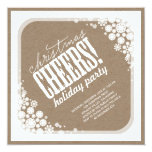 Snowflakes Flowers Frame Christmas Holiday Party 5.25x5.25 Square Paper Invitation Card