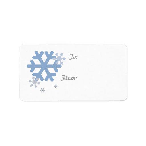 Snowflakes Gift Label - White Address Label
