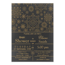 Snowflakes glitter gold Winter Baby shower Invite