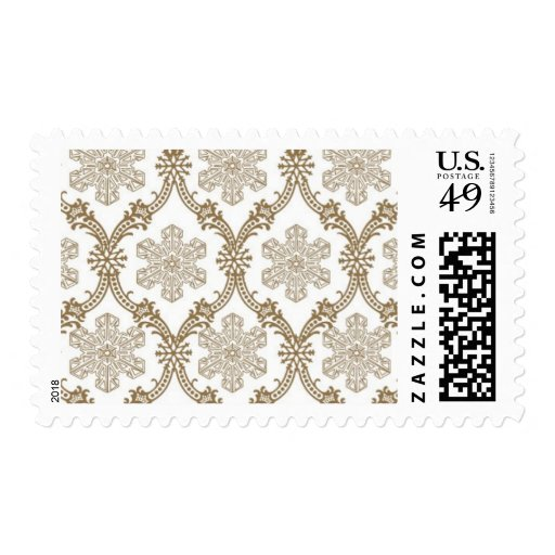 Snowflakes_Gold by Ceci New York Postage Stamps