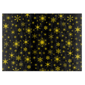 Snowflake Glass Cutting Board Snowflakes Golden Yellow on