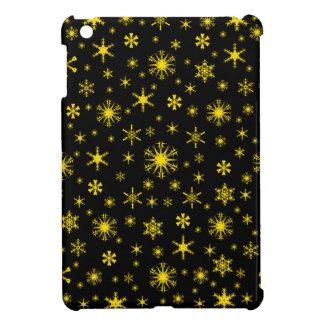 Snowflakes – Golden Yellow on Black iPad Mini Case