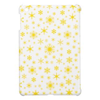 Snowflakes – Golden Yellow on White Case For The iPad Mini