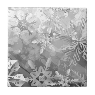 snowflakes gray greys winter digital realism layer ceramic tile