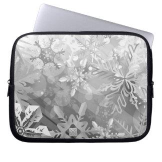 snowflakes gray greys winter digital realism layer laptop computer sleeve