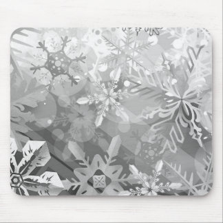 snowflakes gray greys winter digital realism layer mouse pad