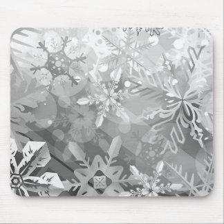 snowflakes gray greys winter digital realism layer mouse pad