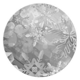 snowflakes gray greys winter digital realism layer dinner plates