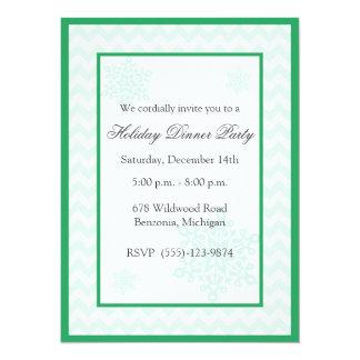 Snowflakes Green Chevron Holiday Party Invitations